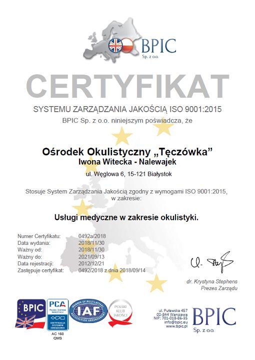 Certyfikat ISO 2019
